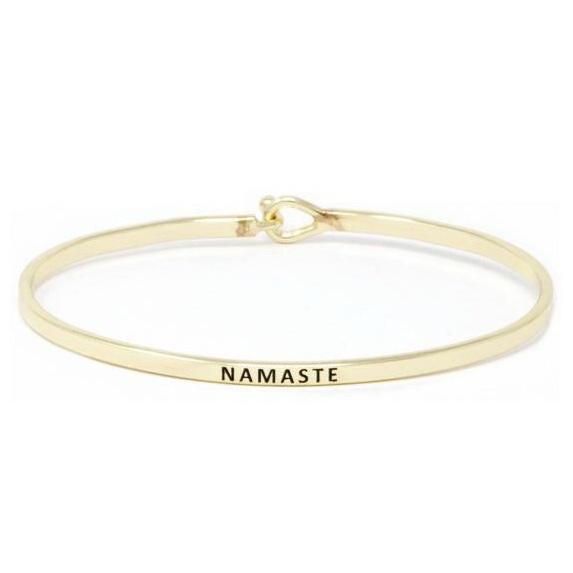 Gold Namaste Simple Stamped Bracelet