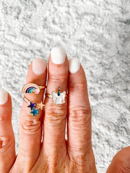 Girls Rainbow Ring Set of 3