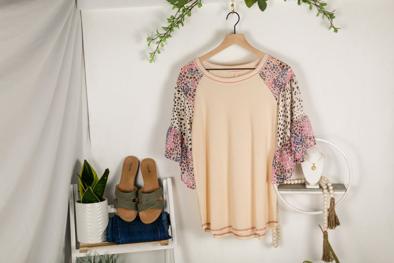 Blushing Leopard Blouse by Hailey and Co.