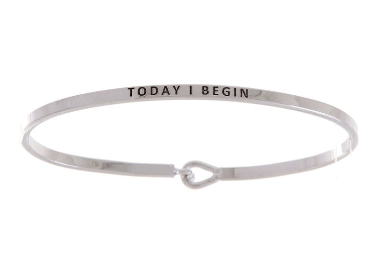 Silver Today I Begin Simple Stamped Bracelet