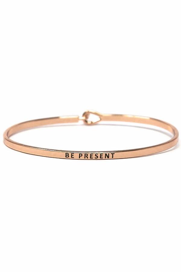 Be Present Rose Gold Simple Stamped Bracelet