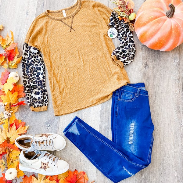 Wild For Fall: Mustard and Leopard Top by Vanilla Bay