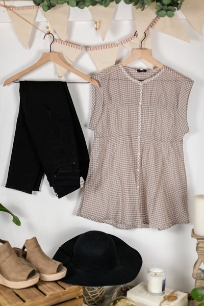 Best Day Ever Tan Gingham Blouse by Current Air