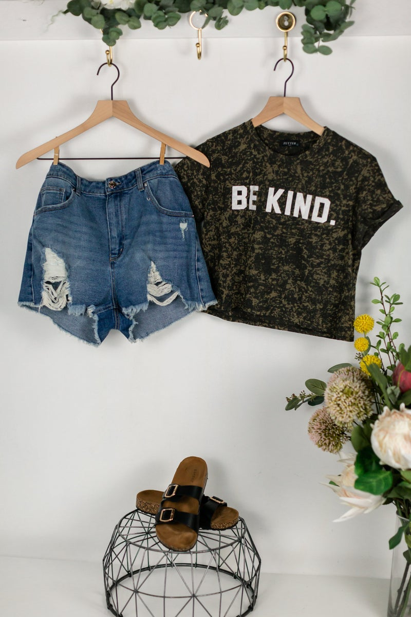 Be Kind Bleached Dyed Tee by Zutter