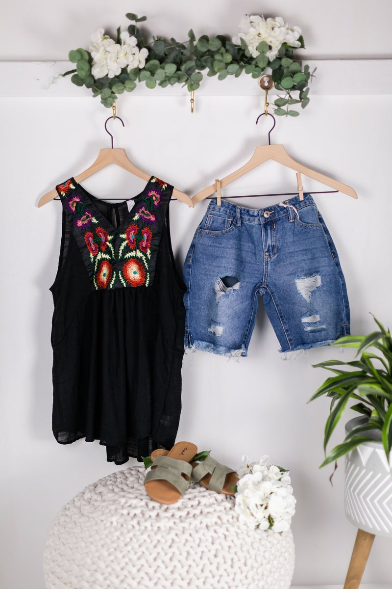 Petal Pickin' Sleeveless Blouse by CY Fashion