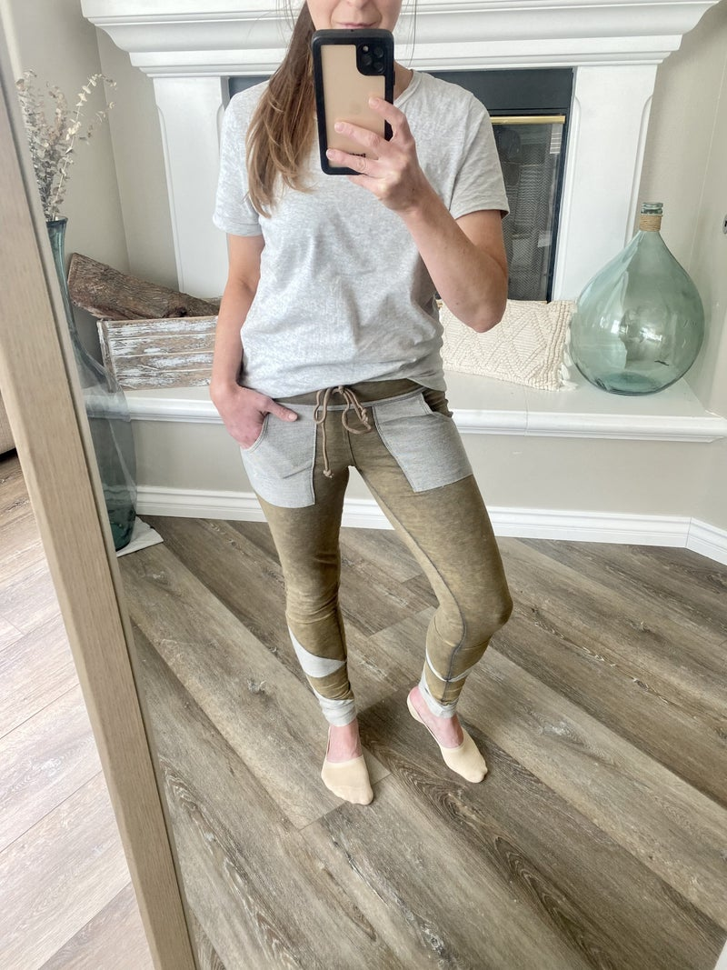 Olive Walking Out On You Legging/Joggers by Rae Mode