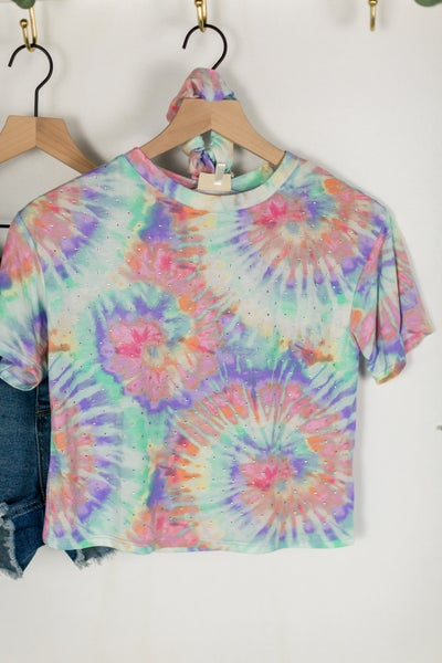 Girls Cool Tone Tie Dye Tee + Scrunchie