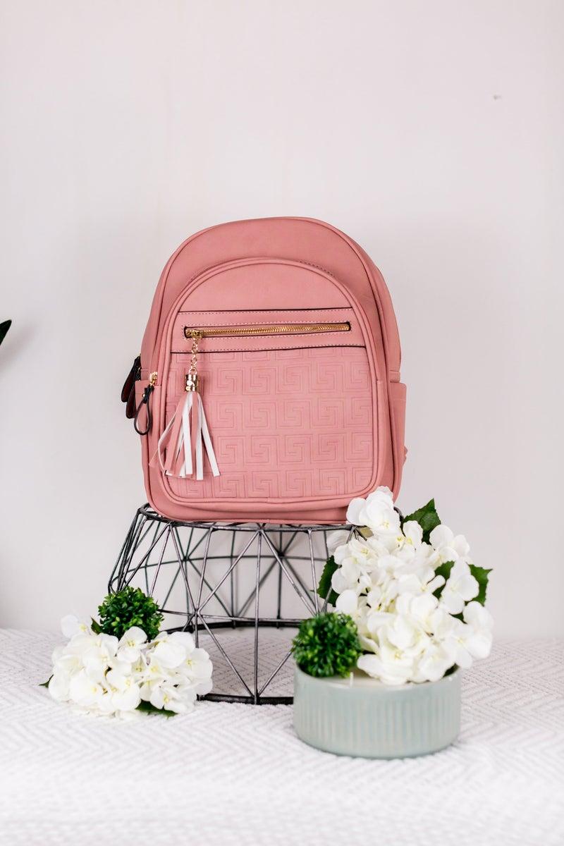 Greek Texture Tassel Backpack