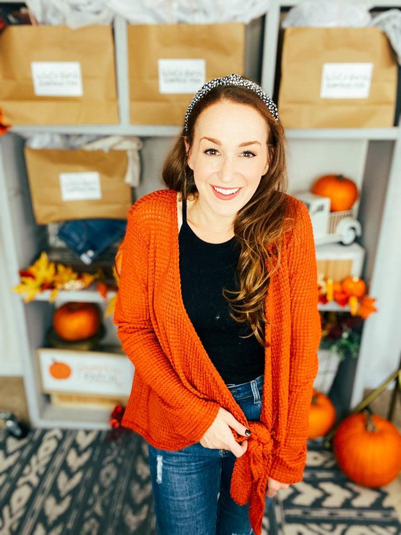 Plus Pumpkin Up The Spice Tie Front Top