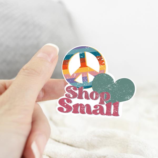 Peace, Love, Shop Small Sticker