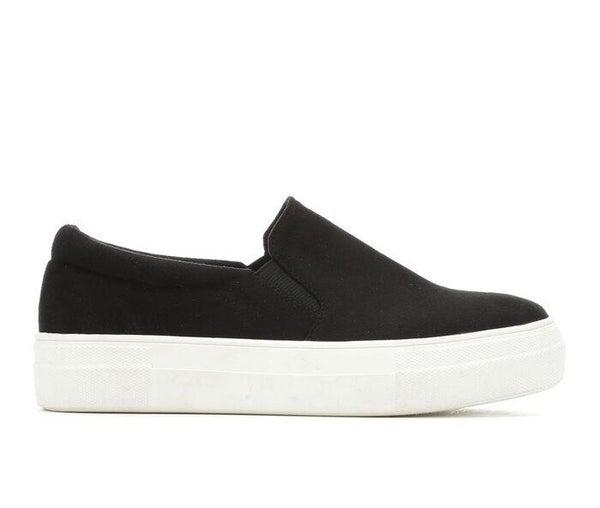 Black Faux Suede Super Cush Platform Sneakers
