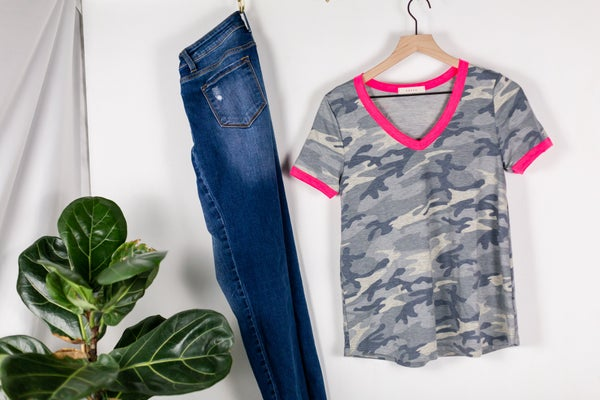 Stay True Camo Top with Pink Trim by Entro