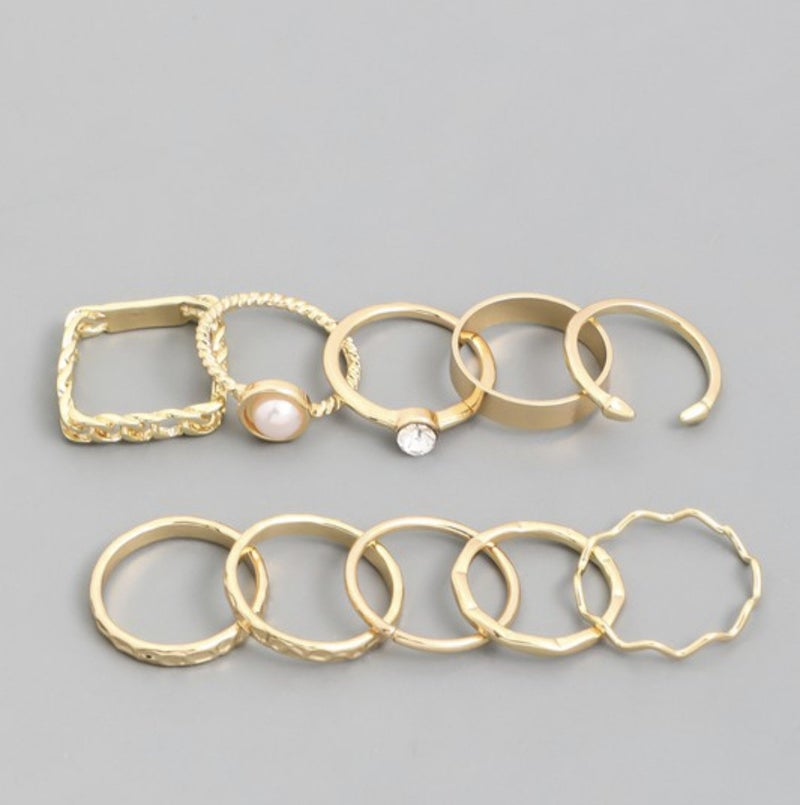 Assorted 10 Piece Ring Set