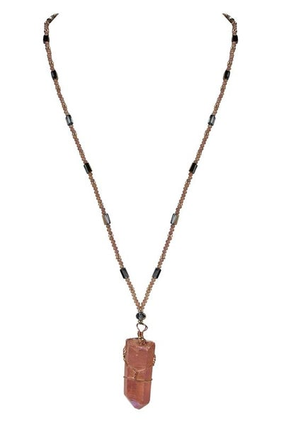 Champagne Long Crystal Stone Pendant Necklaces