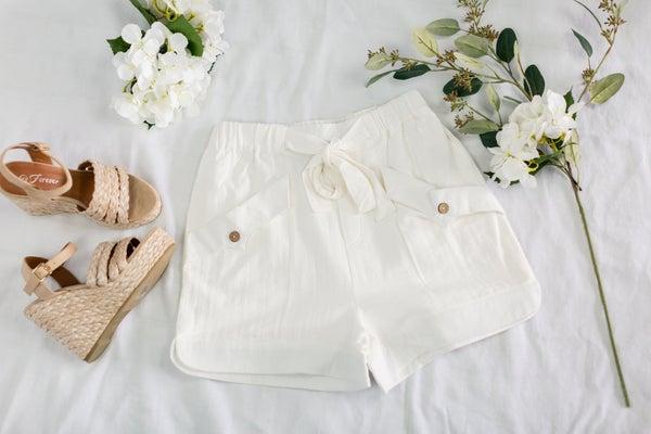 Cheery Attitude White Shorts