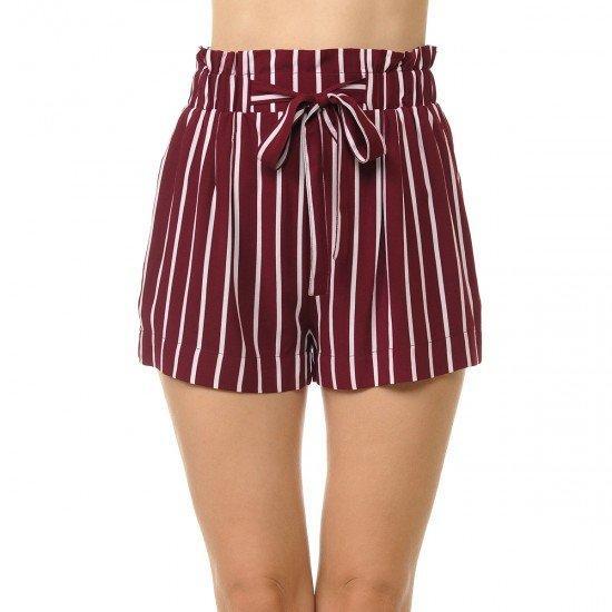 Basic Wine Stripe Shorts