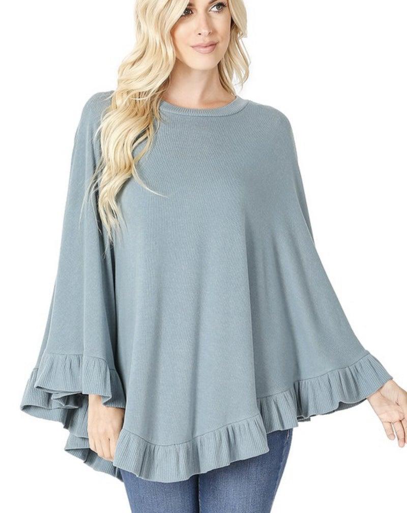 Natalie Sweater Ruffle Poncho in Grey Blue