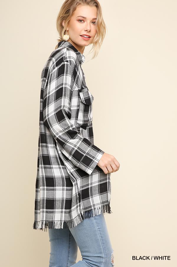 Plus Plaid Pullover Blouse