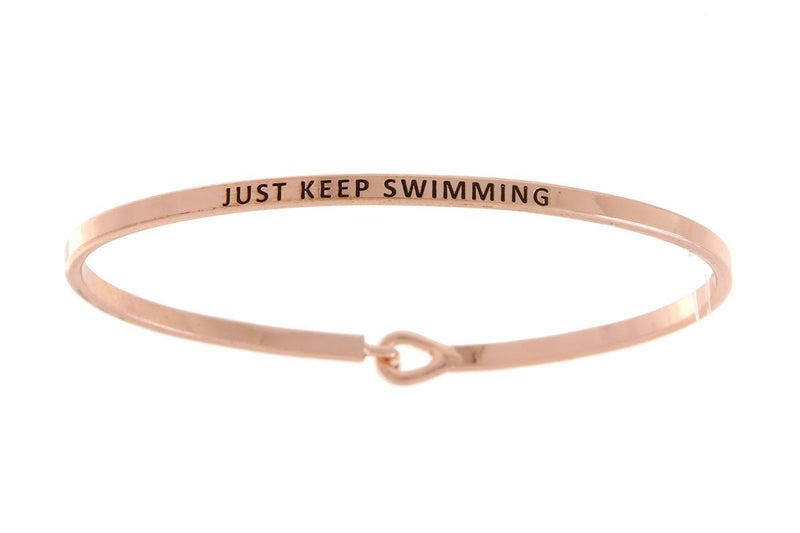 Rose Gold Just Keep Swimming Simple Stamped Bracelet