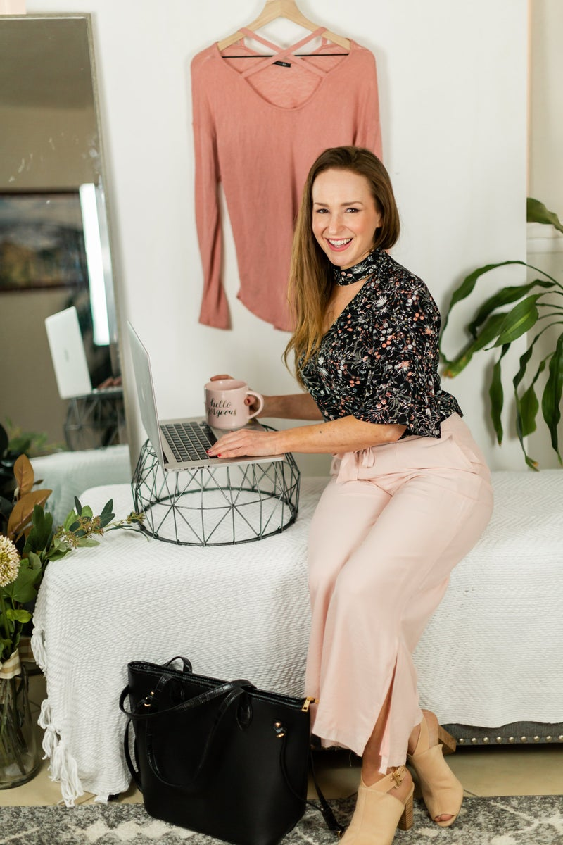 Just The Facts Blush Flow Pants by Skylar + Madison