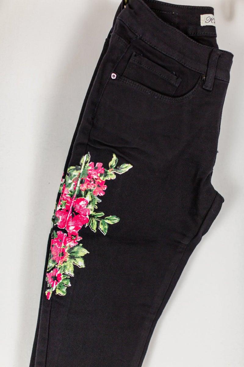 Paint It Black Floral Jeans