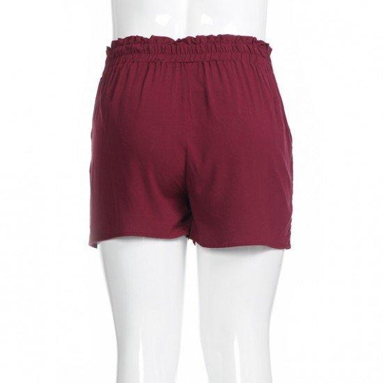 Plus Basic Wine Paperbag Shorts