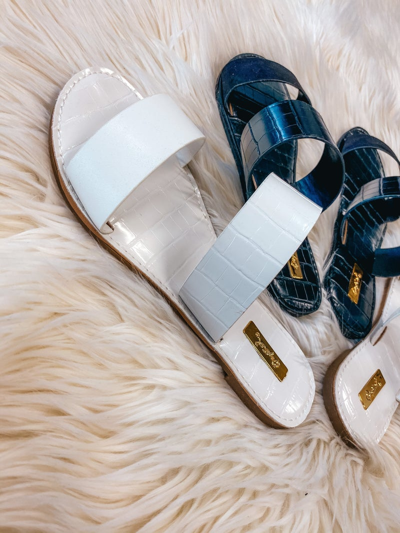 << ATHENA  SOLID DOUBLE STRAP SANDALS >>