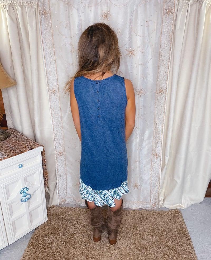 << PAISLEY RUFFLE BLOCK TANK DRESS >>