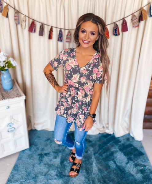 << CHARCOAL FLORAL BABY DOLL TOP >>