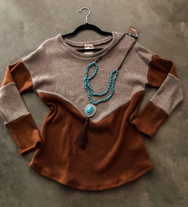 << WAFFLE KNIT COLOR BLOCK >>