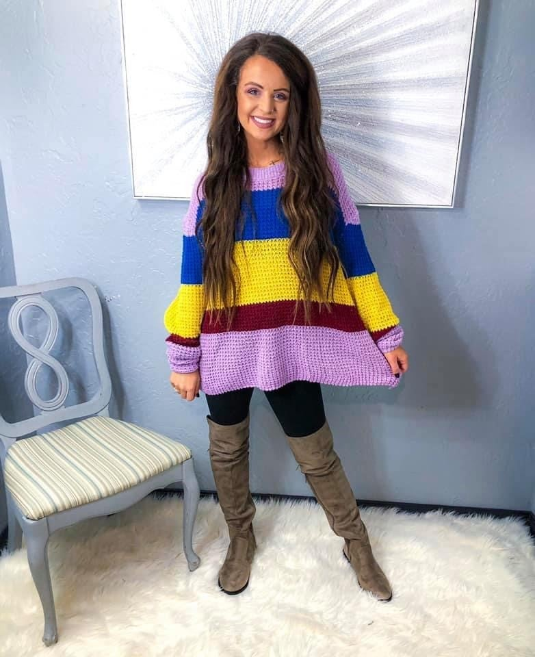 << Crochet Color Block Sweater >>