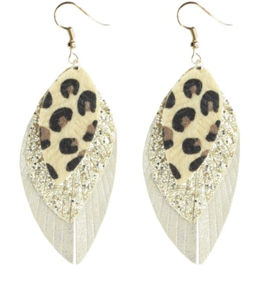 << 3 LAYER LEATHER EARRINGS >>