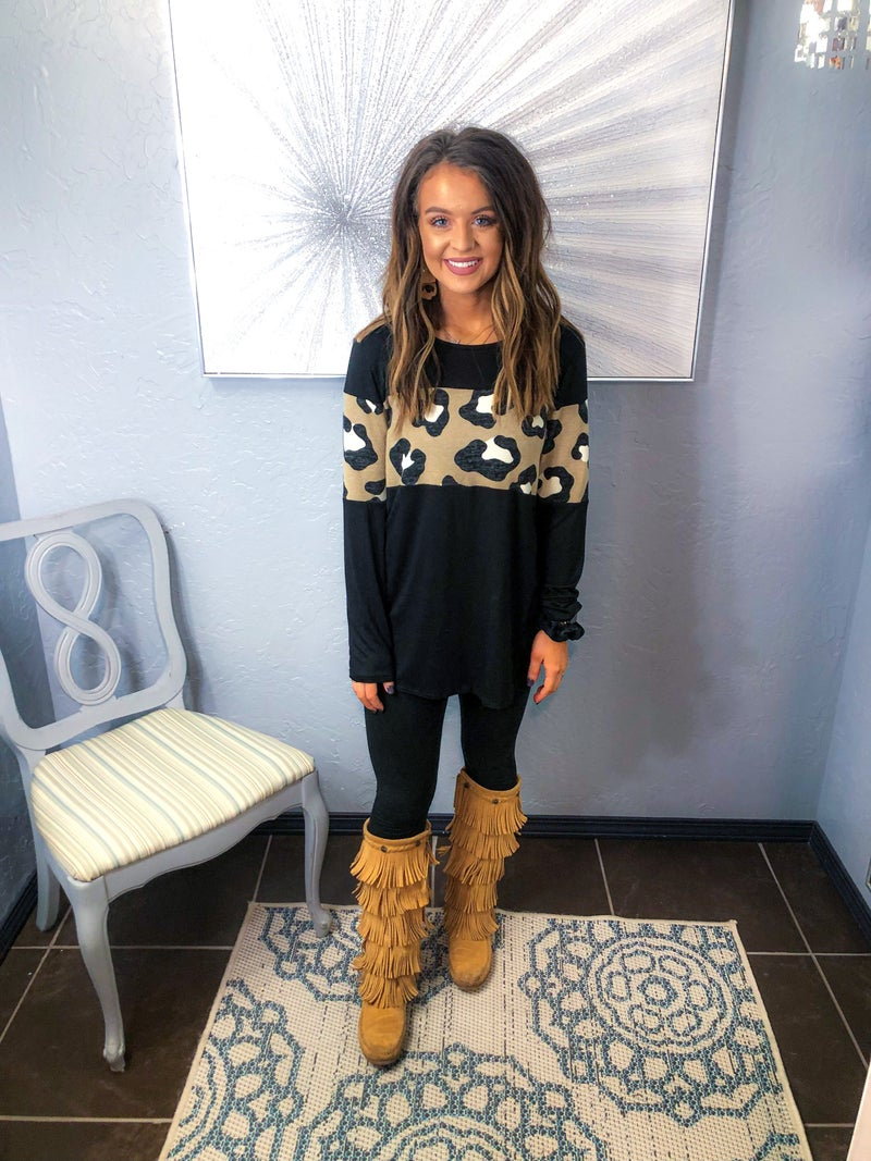 LONG SLEEVE LEO PARD COLOR BLOCK