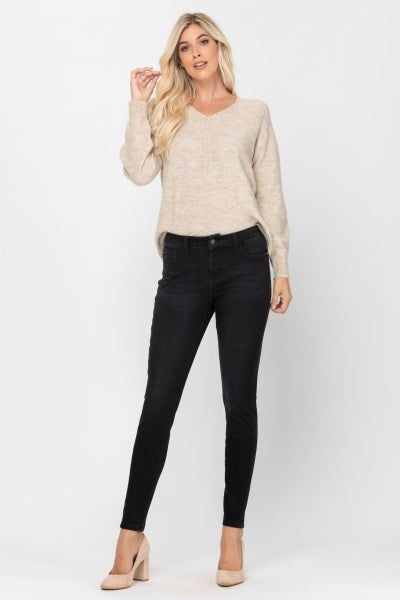 JUDY BLUES THERMADENIM BLACK NON-DISTRESSED JEANS