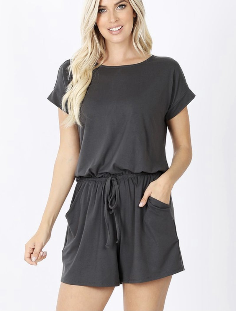BRUSHED ROMPER WITH POCKETS IN ASH GREY