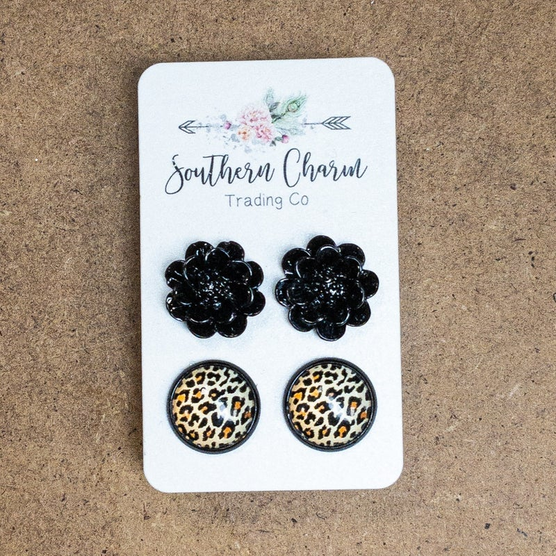 LEOPARD BLACK FLOWER EARRINGS