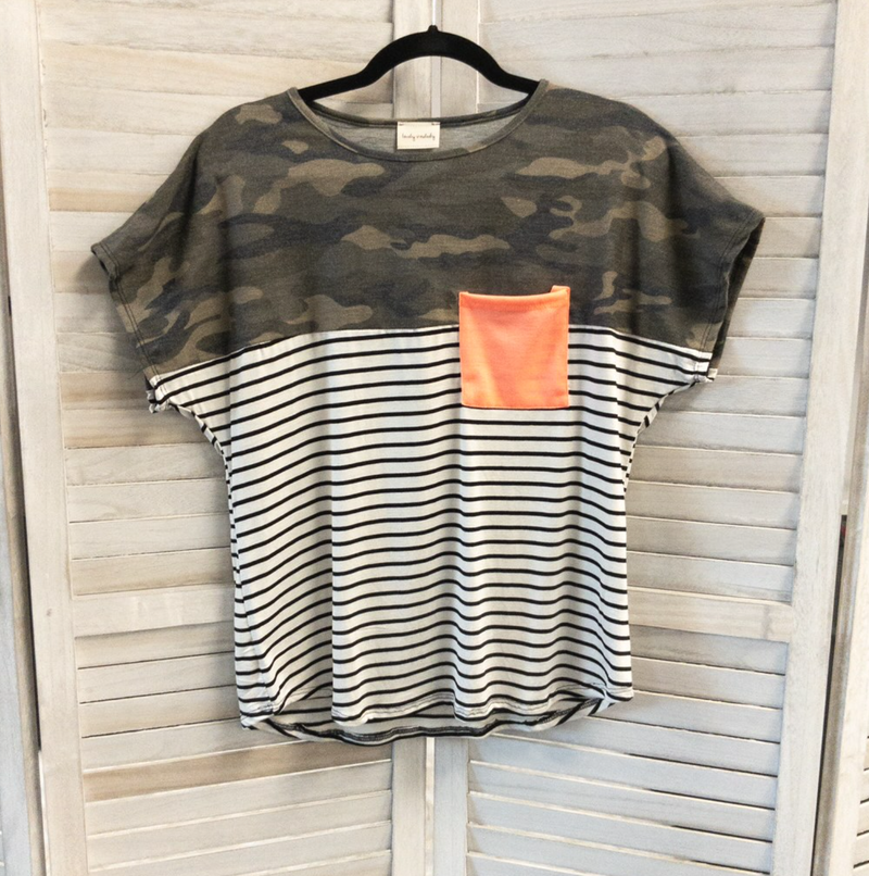 CAMO AND STRIPE TUNIC WITH NEON PARTY POCKET!