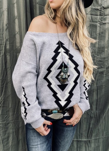 GREY AZTEC PRINTED PULLOVER SWEATER