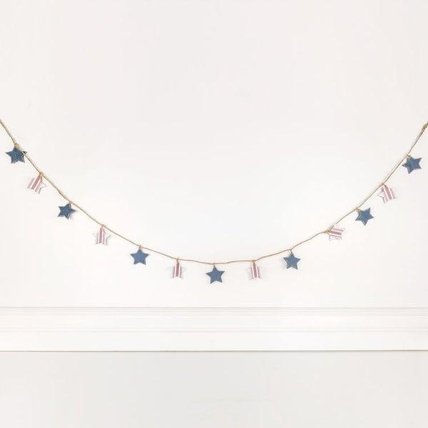 "ADAMS & CO. WOOD STAR GARLAND 60"" X 2"" (RED WHITE & BLUE)"