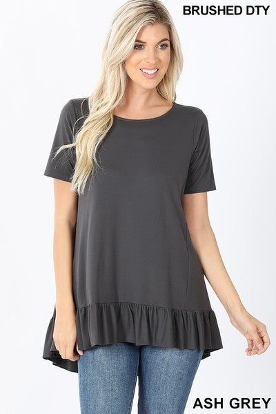 BRUSHED RUFFLE HI LOW HEM TOP