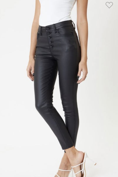 KAN CAN HIGH RISE LEATHER ANKLE SKINNY