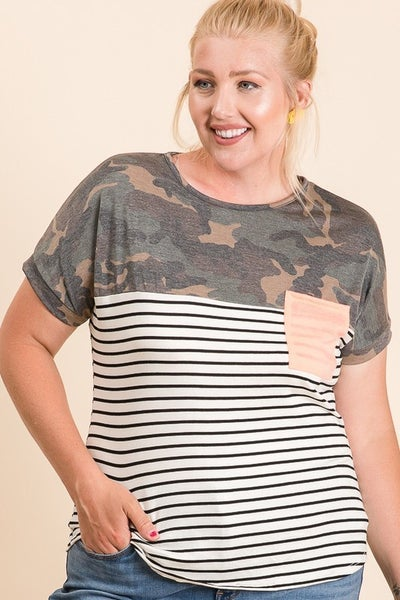 PLUS SIZE CAMO AND STRIPE TUNIC WITH NEON POCKET