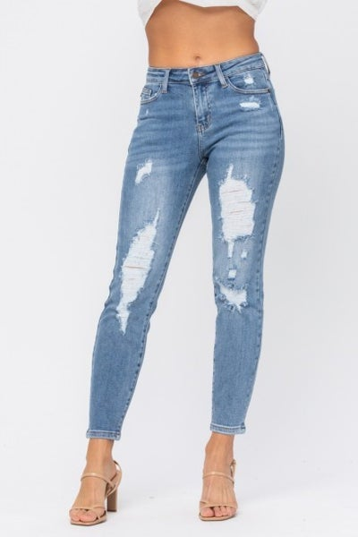 JUDY BLUE DESTROYED MID RISE JEANS