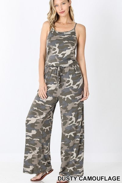 CAMOUFLAGE SPAGHETTI STRAP JUMPSUIT WITH POCKETS