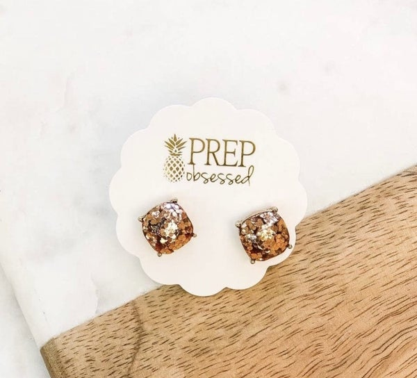 Party Time Confetti Glitter Square Stud Earrings