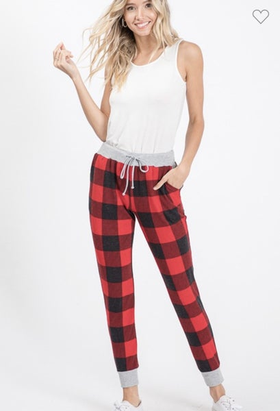 PLAID JOGGER PANTS WITH POCKETS