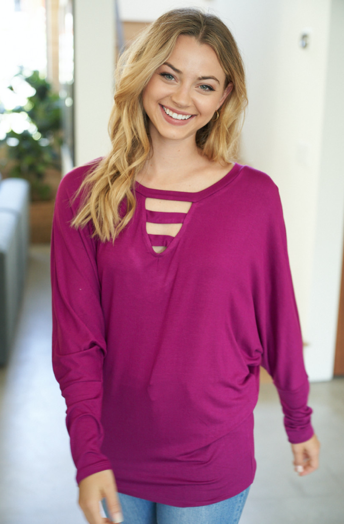 MAGENTA LONG SLEEVE SOLID KNIT TOP