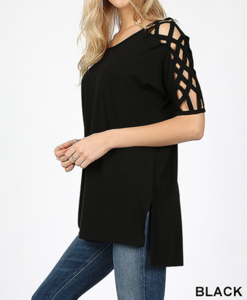 CRISS CROSS SHOULDER SIDE SPLIT HI-LOW HEM TOP