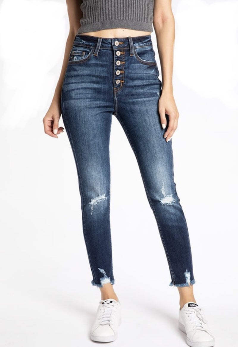 KAN CAN DISTRESSED HIGH RISE BUTTON FLY ANKLE SKINNY JEAN