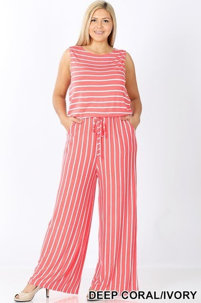 CORAL AND IVORY STRIPED SLEEVELESS JUMPSUIT WITH POCKET